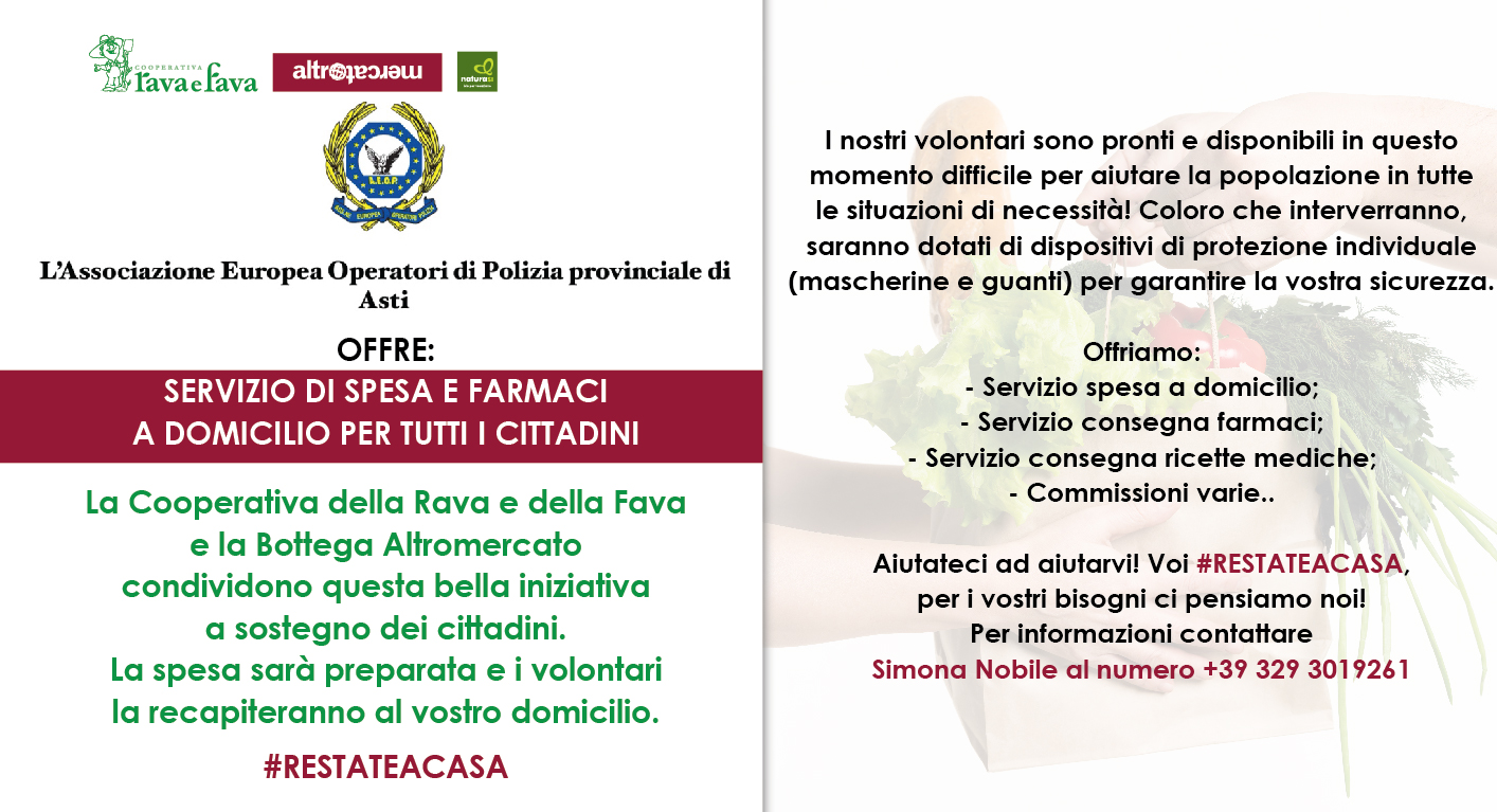 SERVIZIO DI SPESA E FARMACI A DOMICILIO PER TUTTI I CITTADINI